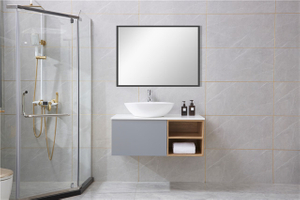 Cement Grey Chinese Mirrored Single Badezimmerschränke Vanity